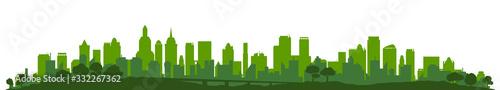 Fototapeta Green city silhouette, cityscapes - stock vector obraz