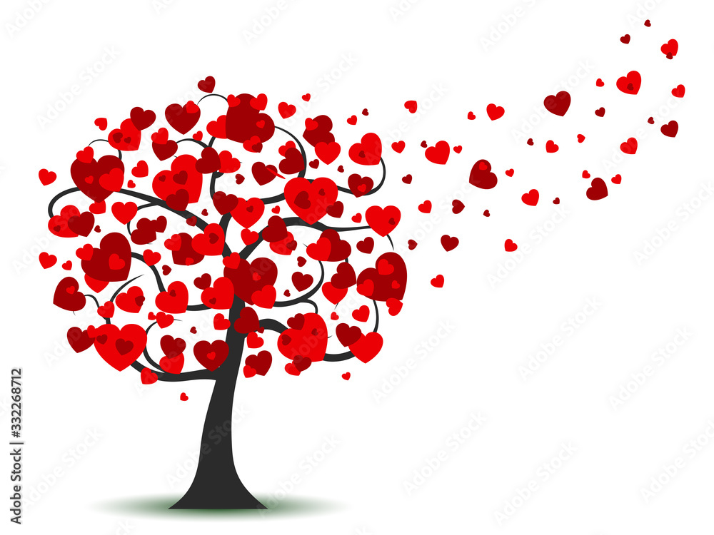 Fototapeta Beautiful love tree with flying hearts – stock vector