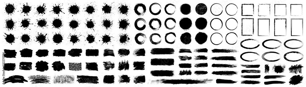Fototapeta Set different splash, collection brush strokes – for stock