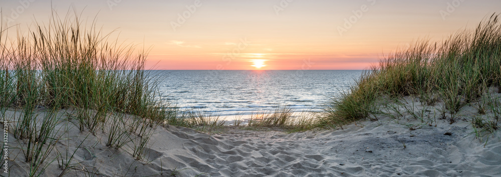 Fototapeta Panoramic view of a dune beach at sunset, North Sea, Germany