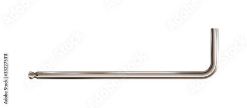 Photo Realistic Hex or inbus key, silverish tool isolated on white background