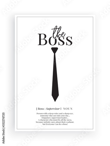 Obraz na plátně The boss definition, Minimalist Wording Design, Wall Decor, Wall Decals Vector,