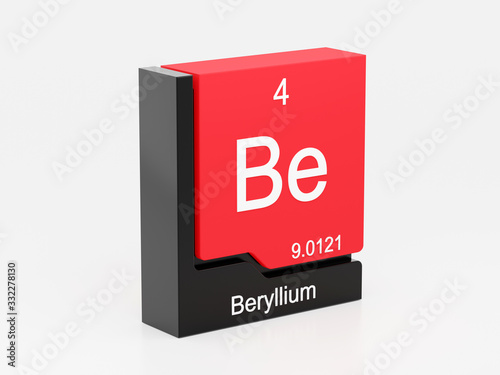 Beryllium, periodic table element modern icon series, 3D rendered on white backg Canvas Print