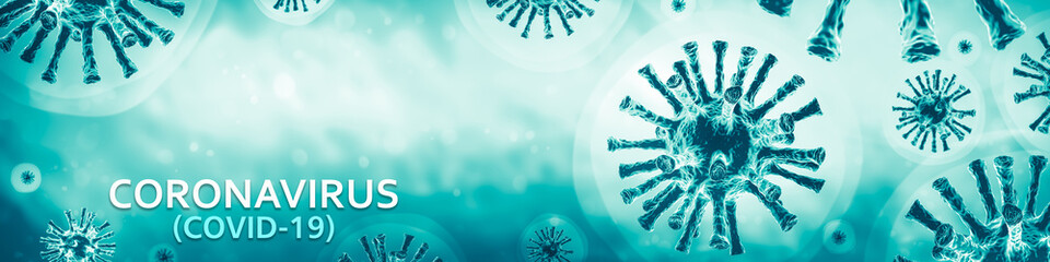 3d Rendering Of Covid-19 / Coronavirus In Blue Background With Text - Virology Concept