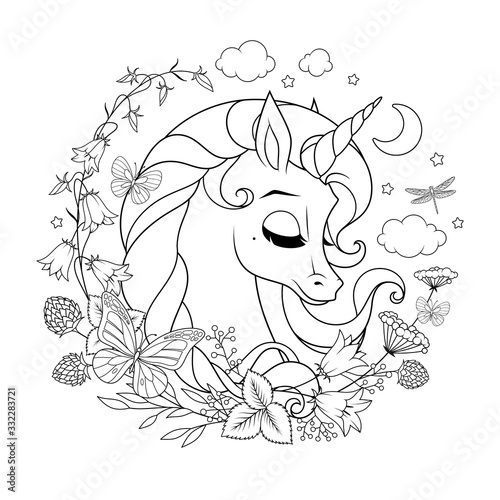 Cute magic unicorn surrounded with flowers and butterflies. Coloring page vector illustration. Wall mural