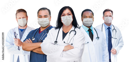 Fotografie, Obraz Variety of Medical Healthcare Workers Wearing Medical Face Masks Amidst the Coro