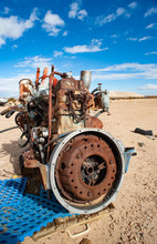 Old Rusty Engine In A Mojave D...