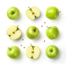 Fresh Green Apples With Seeds Isolated On White Background. Fruits Pattern, Top View, Flat Lay
