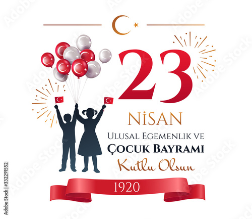 Fotografia Card or poster design of people celebrating 23 Nisan in Turkey waving flags with fireworks and balloons