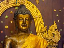 The Phra Jao Lan Thong Buddha Statue.was Built In B.E. 2039 (524 Years Ago) Lanna Art Period Lampang .