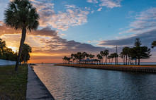 Canal At Sunset On Tampa Bay, ...