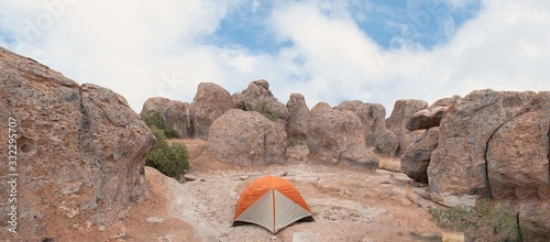 Orange and grey tent, camping out in City of Rocks New Mexico