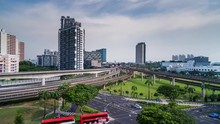 Singapore - Jan 2019 - 4K Time Lapse Of MRT Lines And Traffic In Jurong East Station