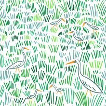 Heron At Wetland Seamless Pattern