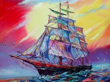 Art Oil Painting Color  Boat Sky Wave Sea