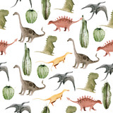 Hand drawing watercolor сhildren's pattern of cute dino and cactus. Funny dinosaur perfect for posters, children's fabric, prints.  illustration isolated on white