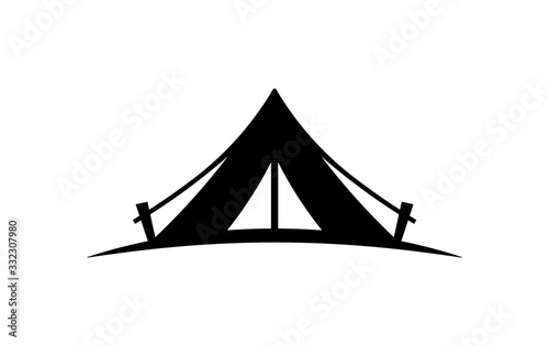 Fototapeta Camping tent vector icon on a white background.