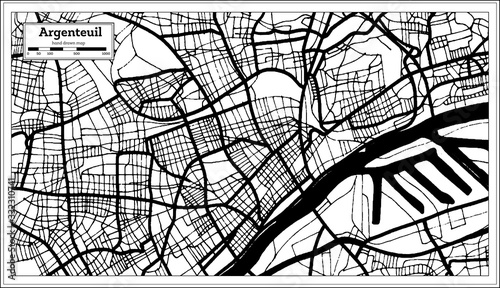Argenteuil France City Map in Black and White Color in Retro Style Canvas Print