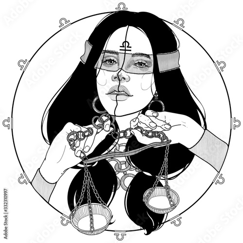 Photo black and white portrait of a girl with scales zodiac sign and horoscope, goddes