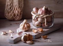 Garlic On A Wooden Board