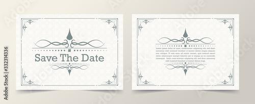 Obraz na płótnie Invitation card vector design vintage style with white color