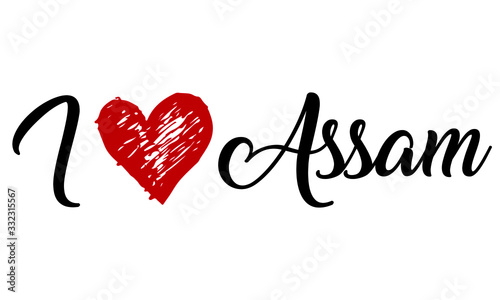 Photo i love Assam Creative Cursive Typographic Template with red heart