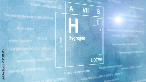 Elemental hydrogen concept from the periodic table of chemical elements Canvas Print