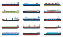 Barge Vector Cartoon Set Icon....