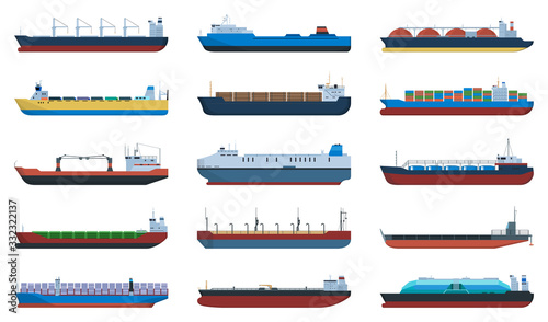 Leinwand Poster Barge vector cartoon set icon