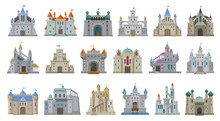 Medieval Castle Vector Cartoon Set Icon. Isolated Cartoon Set Icon Knight Fortress. Vector Illustration Medieval Castle On White Background.