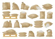 Farmer Bag Vector Illustration On White Background. Isolated Cartoon Set Icon Grain Sack .Vector Cartoon Set Icon Farmer Bag.