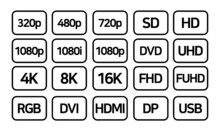 TV Related, Display Related Vector Icon Set For Mobile & Web