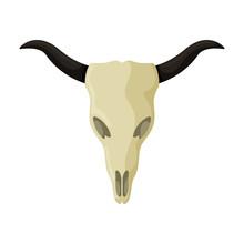 Skull Of Bull Vector Icon.Cart...