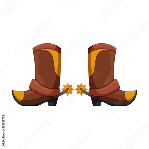 Valokuvatapetti Cowboy boot vector icon