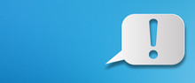 Exclamation Mark With Speech Bubble On Blue Background
