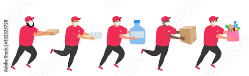 safe delivery courier in protective mask with water bottle pizza toilet paper grocery products during coronavirus pandemic threat