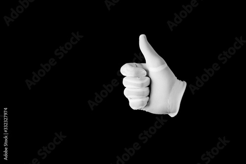 Fotografie, Obraz Human hand in white glove on black background