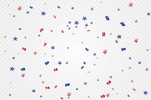 Red And Blue Confetti Isolated...