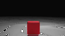 Red Cube Floating Above Dazzli...