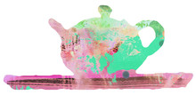 Teapot And Tray Whimsical Abst...
