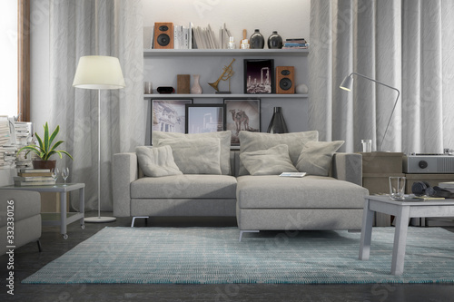Obraz Contemporary and comfortable - 3d visualization of an apartment - fototapety do salonu