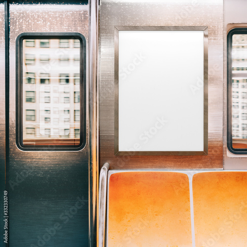 Mock up Poster media template Ads display in NYC Subway Interior Canvas Print