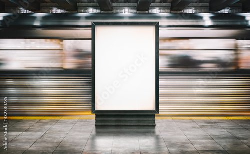 Αφίσα Mock up Poster media template Ads display in NYC Train Subway Station with moving Train on background