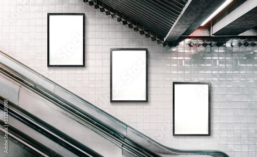 Photo Mock up Poster media template Ads display in NYC Subway Station Escalator