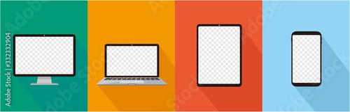 Photo pc laptop tablet smartphone vector illustration