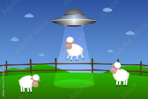 Flying saucer abducts sheep. Vector illustration. Canvas Print