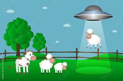 UFO abducts sheep from corral. Vector illustration. Wallpaper Mural