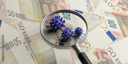 Obraz COVID19 Coronavirus infection, medical magnifier on euro banknotes background. 3d illustration - fototapety do salonu