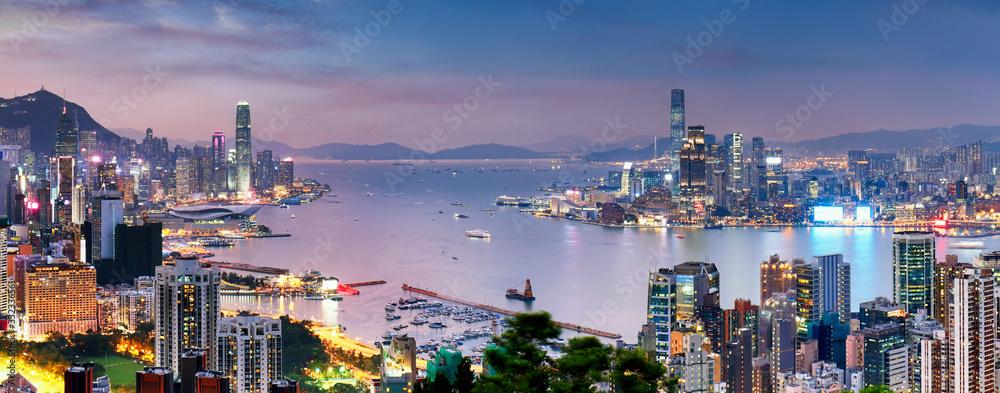 Fototapeta Hong Kong skyline at night, China - Asia