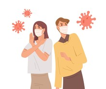 People In Face Masks Fight With Virus. Epidemic Disease Outbreak Prevention. Coronavirus Pandemic Protection. Man And Woman Near Giant Bacterias. Vector Illustration In Flat Cartoon Style